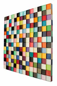 AI BO GALLERY_Janet Sherman, 11 SQUARES, paper, paint, resin, 36 x 36_36 x 36