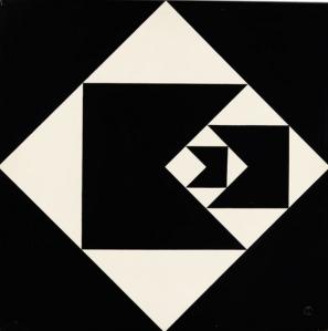 Geraldo de Barros, Diagonal Function, 1952. Lacquer on plywood. 62.9 x 62.9 x 1.3 cm. Colección Patricia Phelps de Cisneros. © Fabiana and Lenora de Barros.